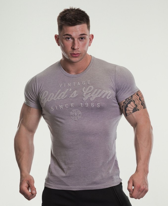 Gold's Gym Emboss Print T-Shirt, Grey