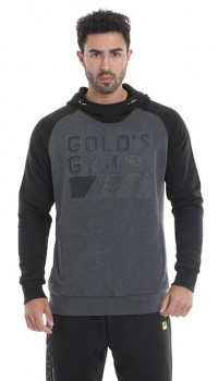 Golds Gym Embossed Hood Sweater, Charcoal Black