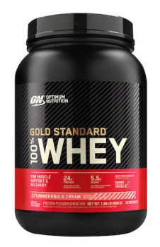 Optimum Nutrition Gold Standard 100 Whey_2LB_StrawberriesCreme_Front_ copie
