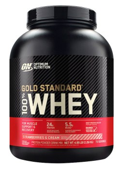 Optimum Nutrition Gold Standard 100 Whey_5LB_StrawberriesCream_Front_ copie